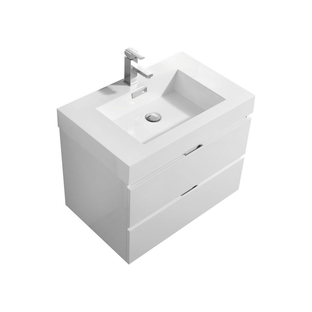 "BLISS- 30"" High Gloss White, Wall Mount Bathroom Vanity - Vanity Sale"