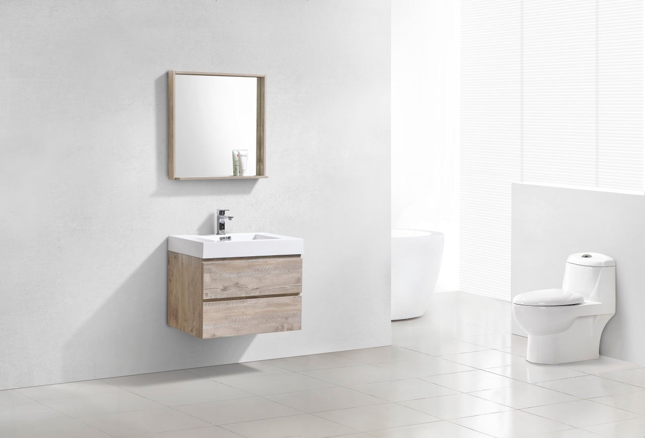"BLISS- 30"" Nature Wood, Wall Mount Bathroom Vanity - Vanity Sale"