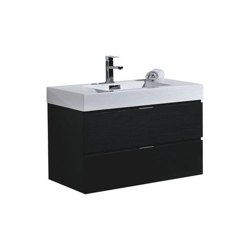 "BLISS- 36"" Black, Wall Mount Bathroom Vanity - Vanity Sale"
