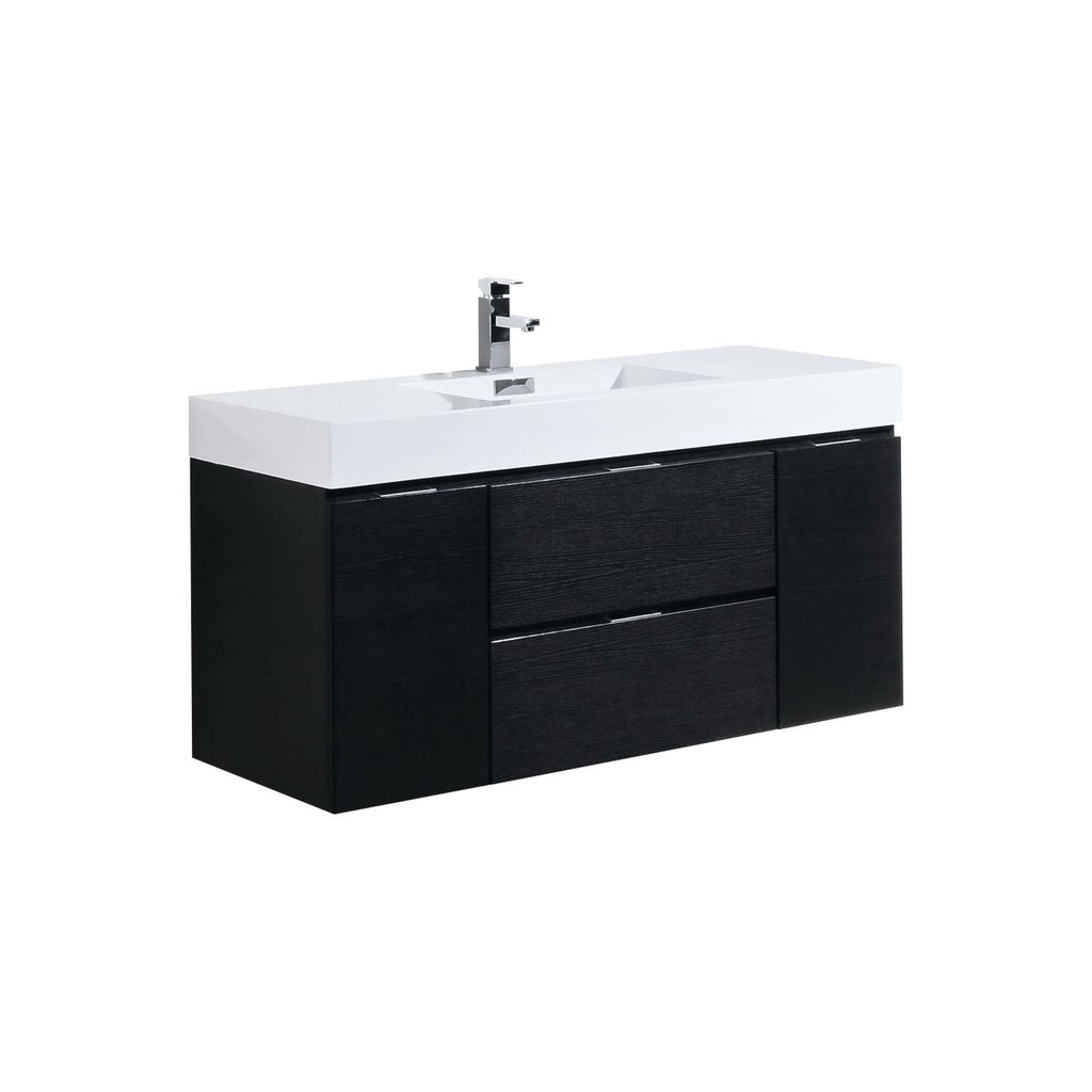 "BLISS- 48"" Black, Wall Mount Bathroom Vanity - Vanity Sale"