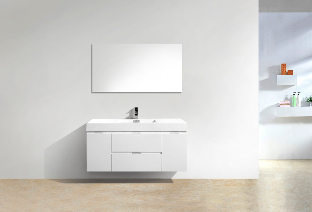 "BLISS- 48"" High Gloss White, Wall Mount Bathroom Vanity - Construction Commodities Supply Inc."