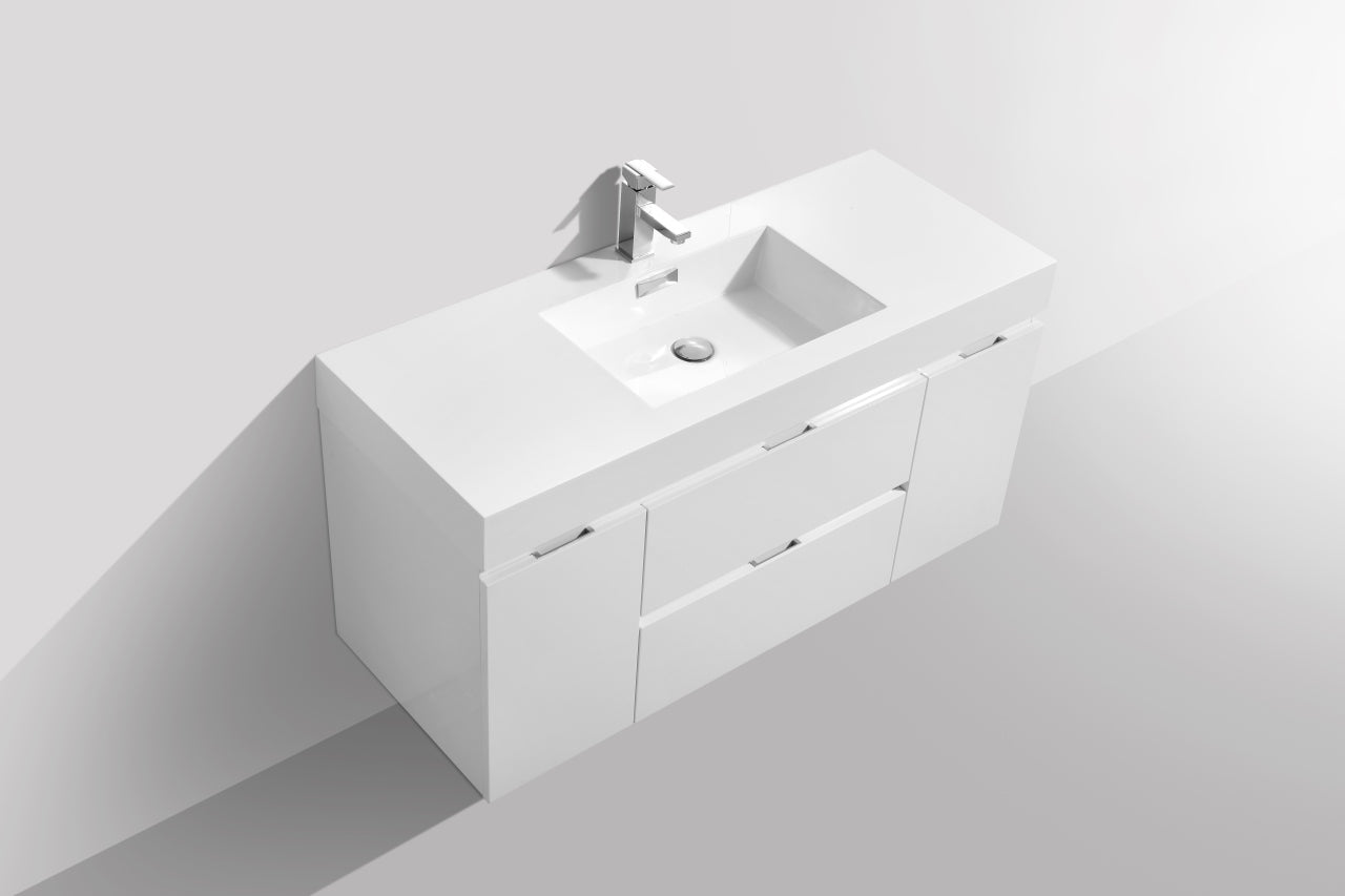 "BLISS- 48"" High Gloss White, Wall Mount Bathroom Vanity - Vanity Sale"