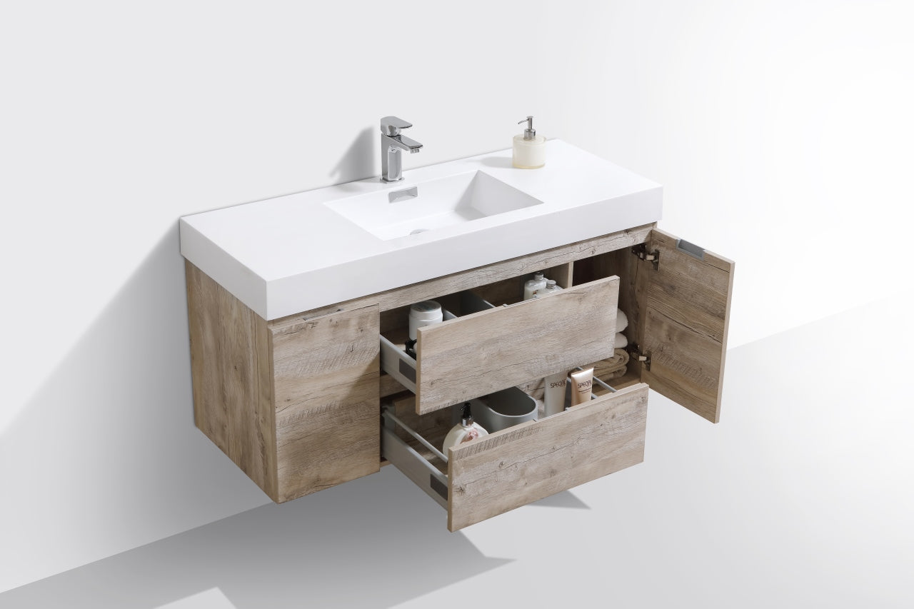 "BLISS- 48"" Nature Wood, Wall Mount Bathroom Vanity - Construction Commodities Supply Inc."
