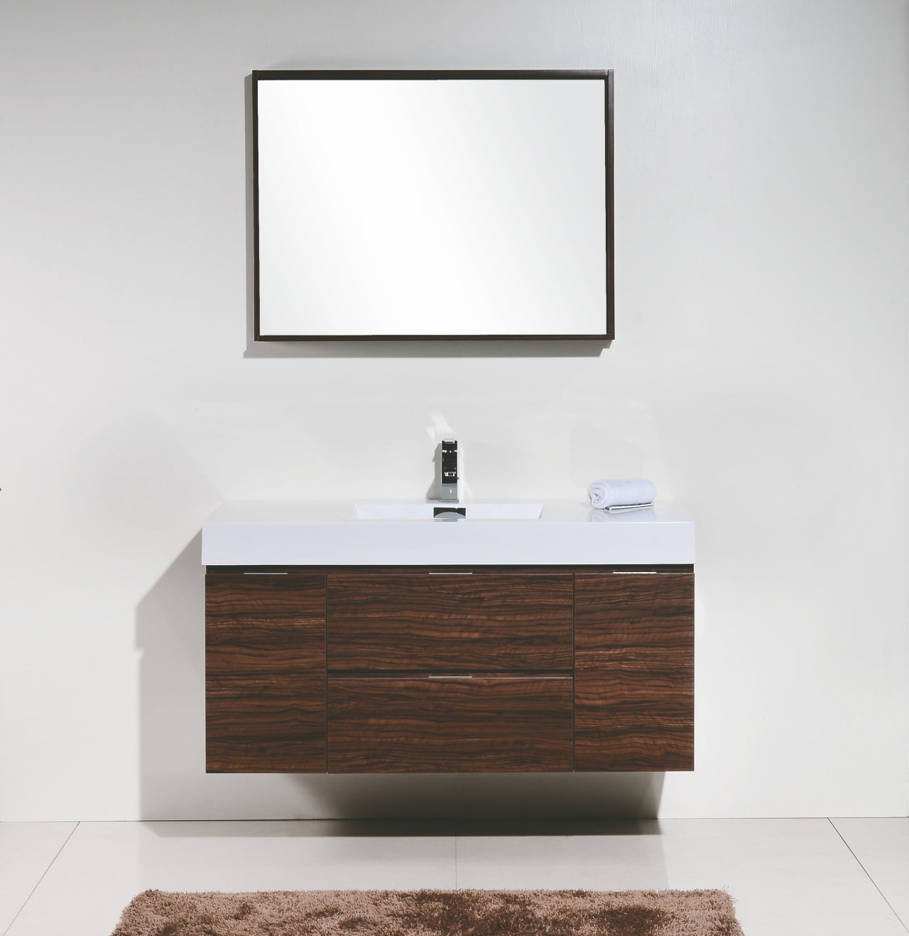 "BLISS- 48"" Walnut, Wall Mount Bathroom Vanity - Vanity Sale"