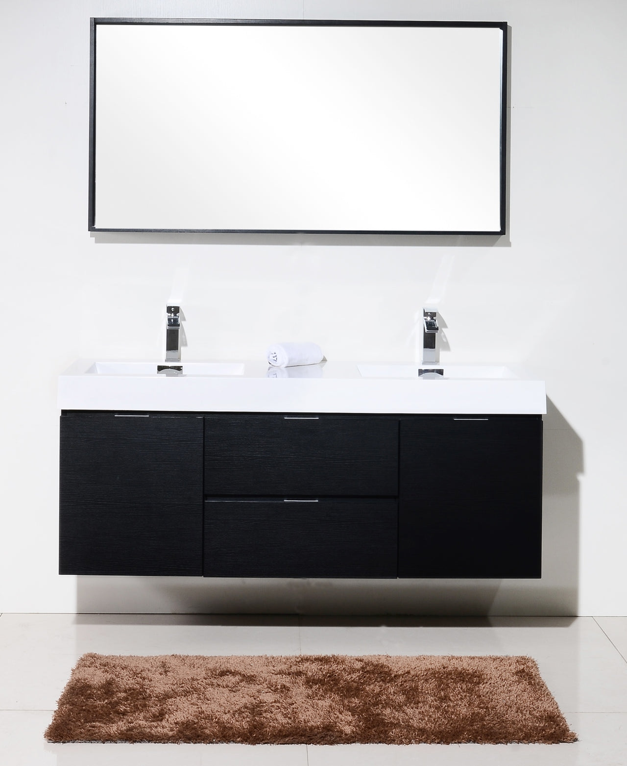 "BLISS- 60"" Black, Double Sink, Wall Mount Bathroom Vanity - Construction Commodities Supply Inc."
