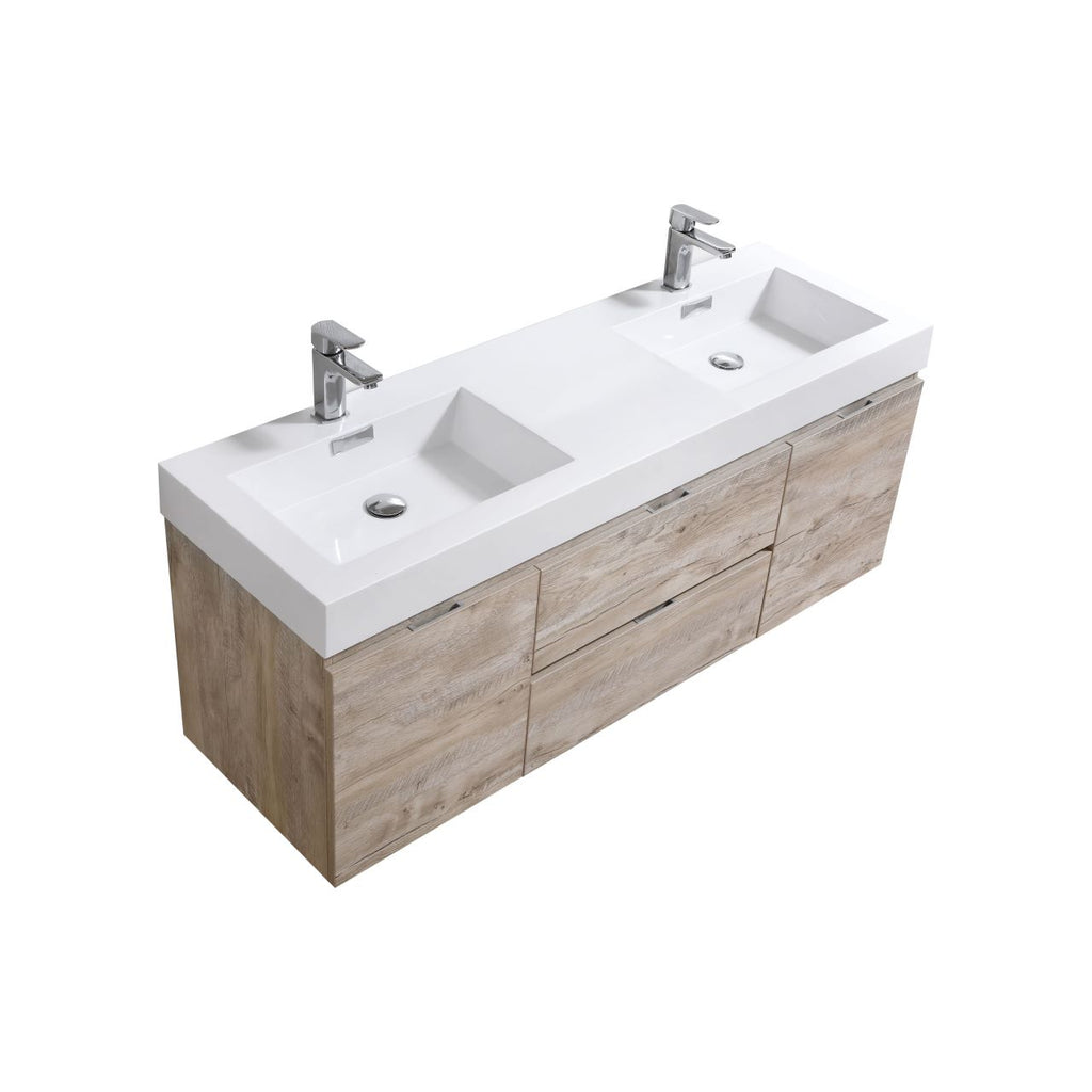 "BLISS- 60"" Nature Wood, Double Sink, Wall Mount Bathroom Vanity - Vanity Sale"