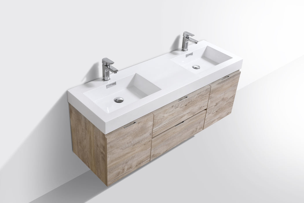 "BLISS- 60"" Nature Wood, Double Sink, Wall Mount Bathroom Vanity - Construction Commodities Supply Inc."