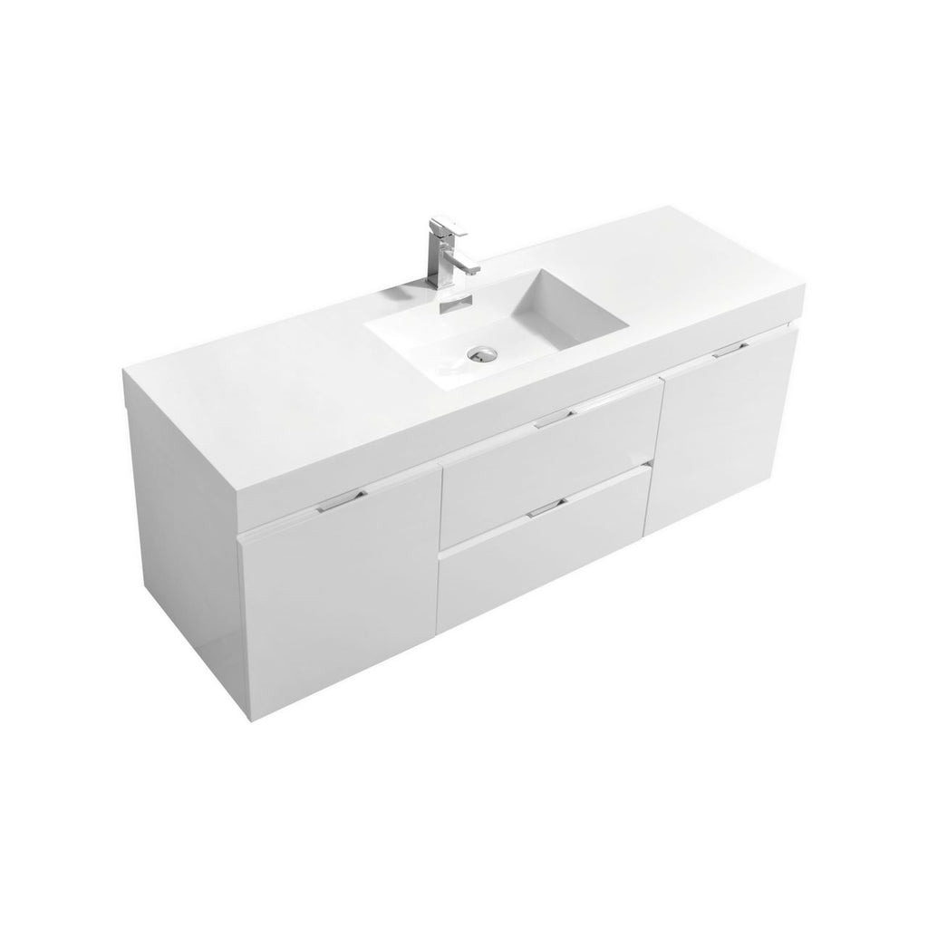 "BLISS- 60"" High Gloss White, Single Sink, Wall Mount Bathroom Vanity - Vanity Sale"
