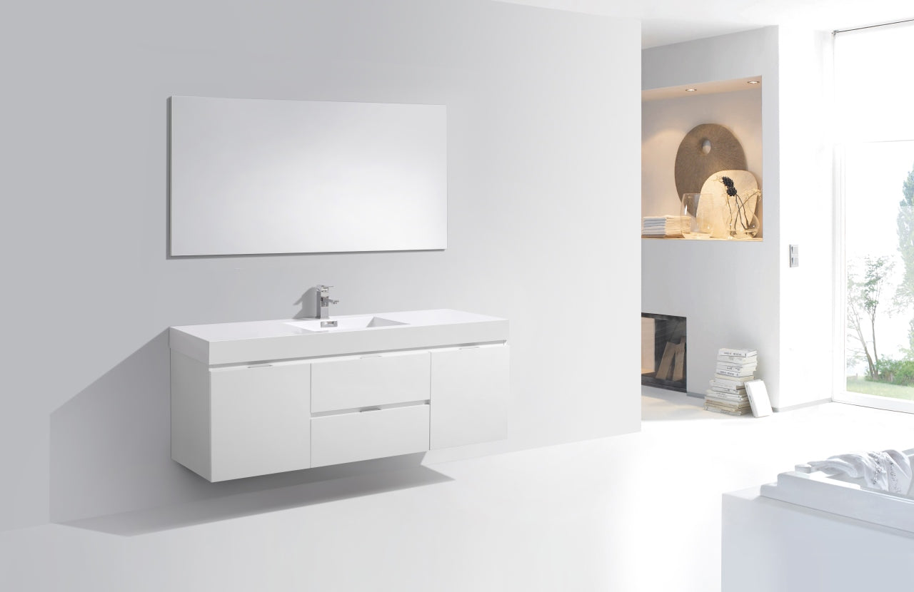 "BLISS- 60"" High Gloss White, Single Sink, Wall Mount Bathroom Vanity vanity-sale.myshopify.com"