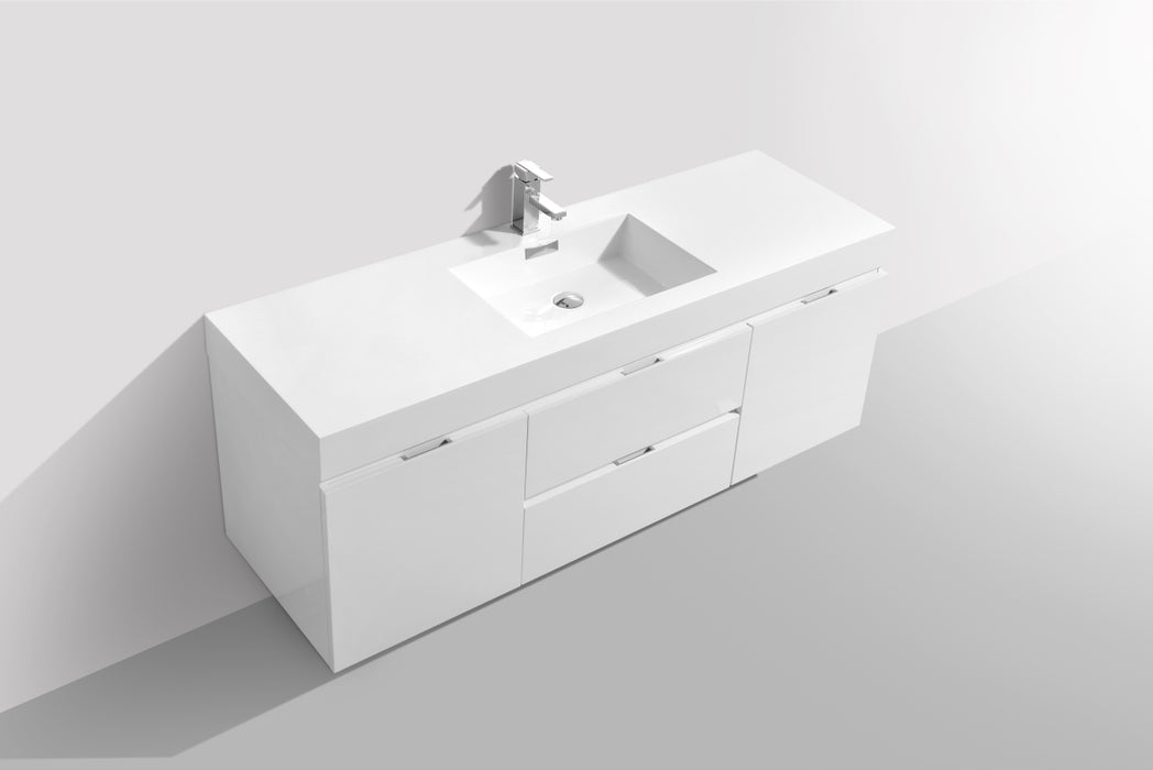"BLISS- 60"" High Gloss White, Single Sink, Wall Mount Bathroom Vanity - Construction Commodities Supply Inc."