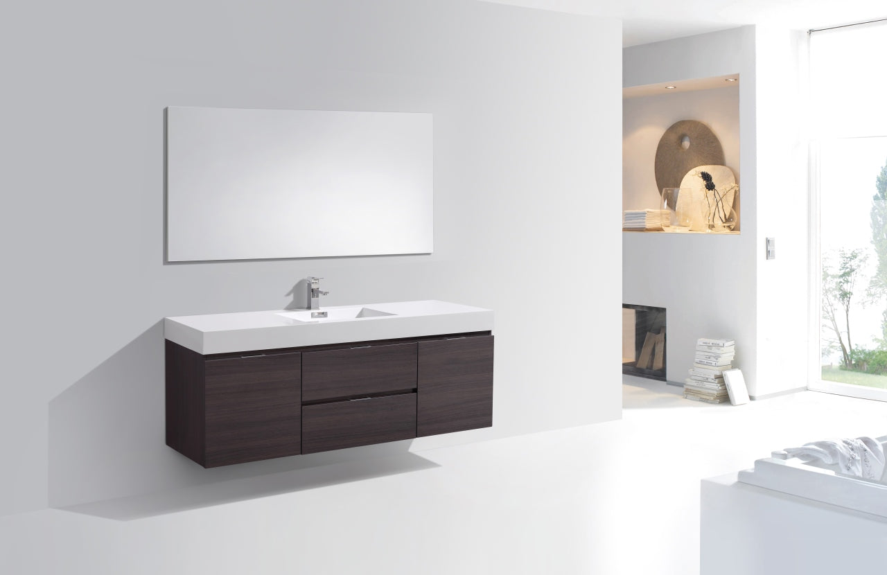 "BLISS- 60"" High Gloss Grey Oak, Single Sink, Wall Mount Bathroom Vanity - Construction Commodities Supply Inc."