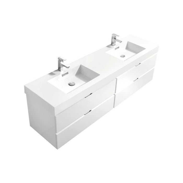"BLISS- 72"" High Gloss White, Double Sink, Wall Mount Bathroom Vanity - Construction Commodities Supply Inc."