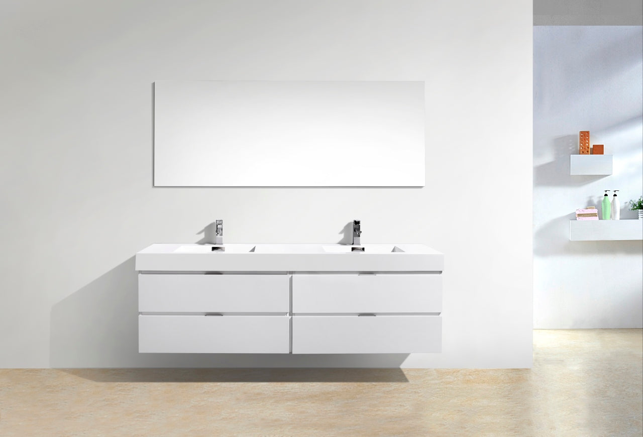 "BLISS- 72"" High Gloss White, Double Sink, Wall Mount Bathroom Vanity - Vanity Sale"