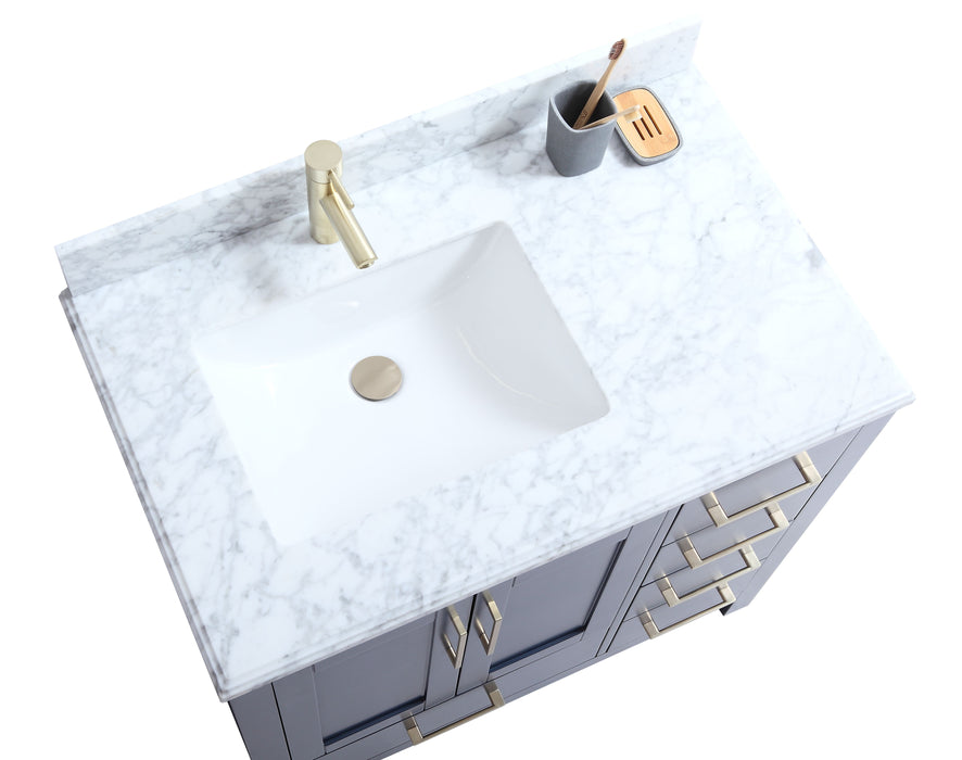 "CCS201 - 36"" Navy Blue, Floor Standing Modern Bathroom Vanity, MARBLE Countertop,Brushed Gold Hardware"