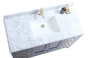 "CCS201 - 48"" Navy Blue, Floor Standing Modern Bathroom Vanity, Brushed Gold Hardware - Vanity Sale"