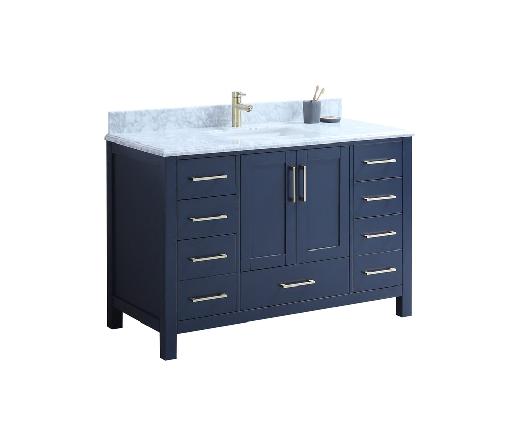 "CCS201 - 48"" Navy Blue, Floor Standing Modern Bathroom Vanity, Brushed Gold Hardware - Construction Commodities Supply Inc."