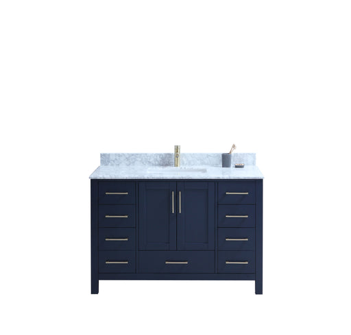 "CCS201 - 48"" Navy Blue, Floor Standing Modern Bathroom Vanity , Double layer Marble  Countertop, Brushed Gold Hardware - Construction Commodities Supply Inc."