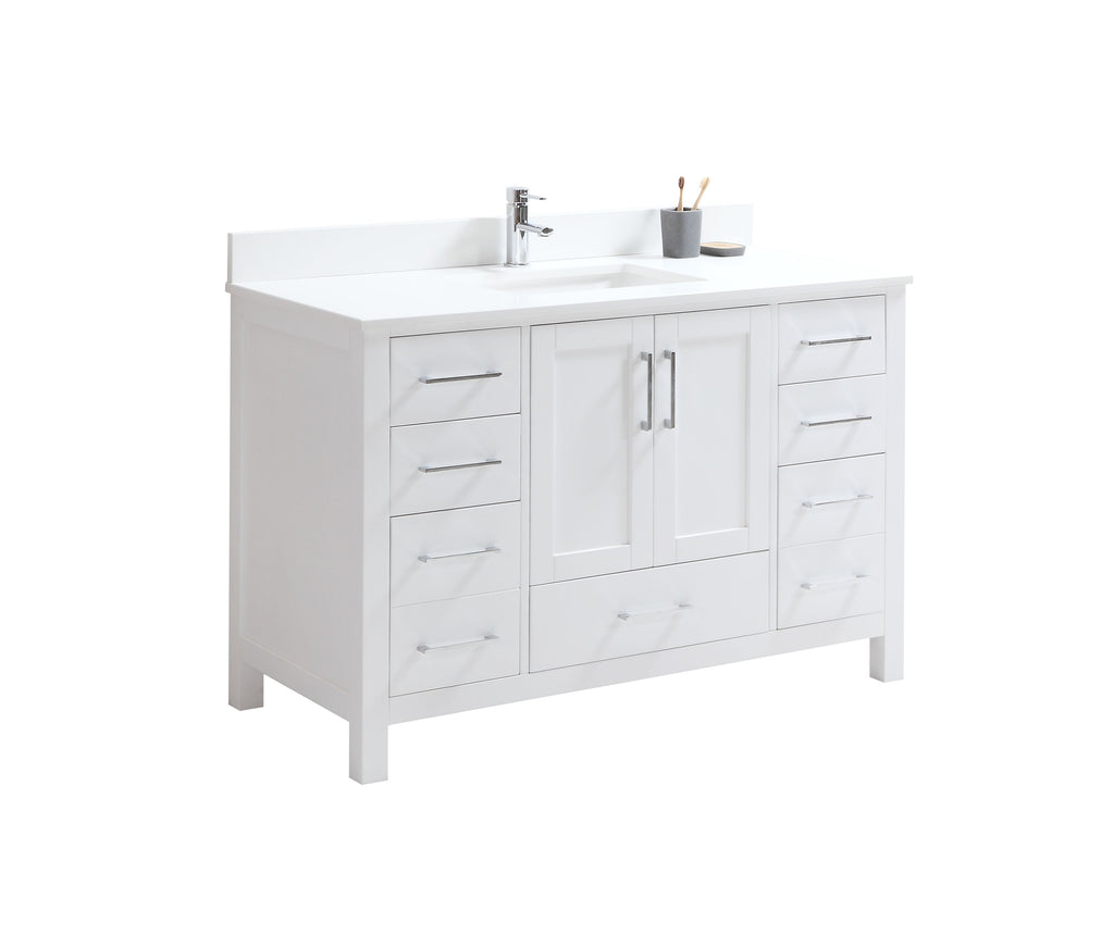 "CCS201 - 48"" White, Floor Standing Modern Bathroom Vanity, Chrome Hardware - Construction Commodities Supply Inc."