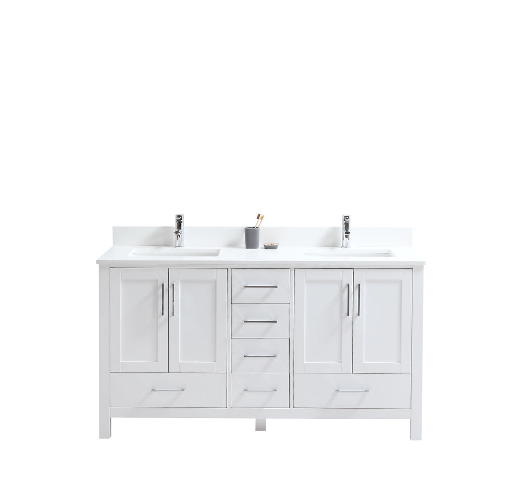 "CCS201 - 60"" White, Double Sink, Floor Standing Modern Bathroom Vanity - Construction Commodities Supply Inc."