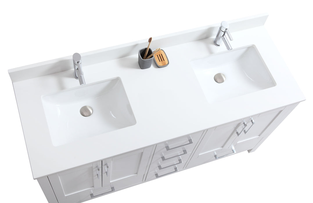 "CCS201 - 60"" White, Double Sink, Floor Standing Modern Bathroom Vanity ,Pure White Quartz Countertop, Chrome Hardware. - Construction Commodities Supply Inc."