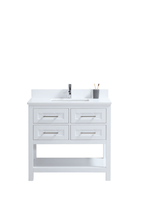 "CCS301 - 36"" White, Floor Standing Modern Bathroom Vanity, White Quartz Countertop, Brushed Nickel Hardware"