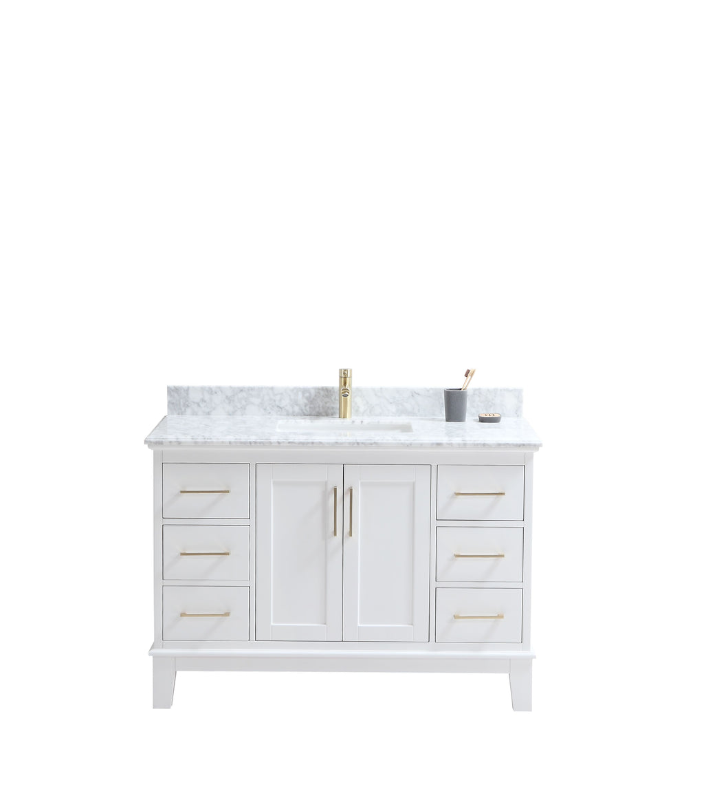"CCS601 - 48"" White, Floor Standing Modern Bathroom Vanity,Marble Countertop, Brushed Gold Hardware"