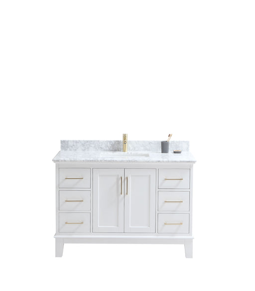 "CCS501 - 48"" White, Floor Standing Modern Bathroom Vanity,Marble Countertop, Brushed Gold Hardware - Construction Commodities Supply Inc."