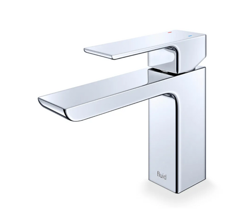 """Fluid-Quad"" Single Lever Chrome Bathroom Faucet - Construction Commodities Supply Inc."