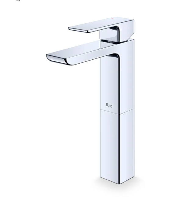 """Fluid-Quad""- Single Lever Chrome Bathroom Faucet With 6"" Extension for Vessel Sinks - Vanity Sale"