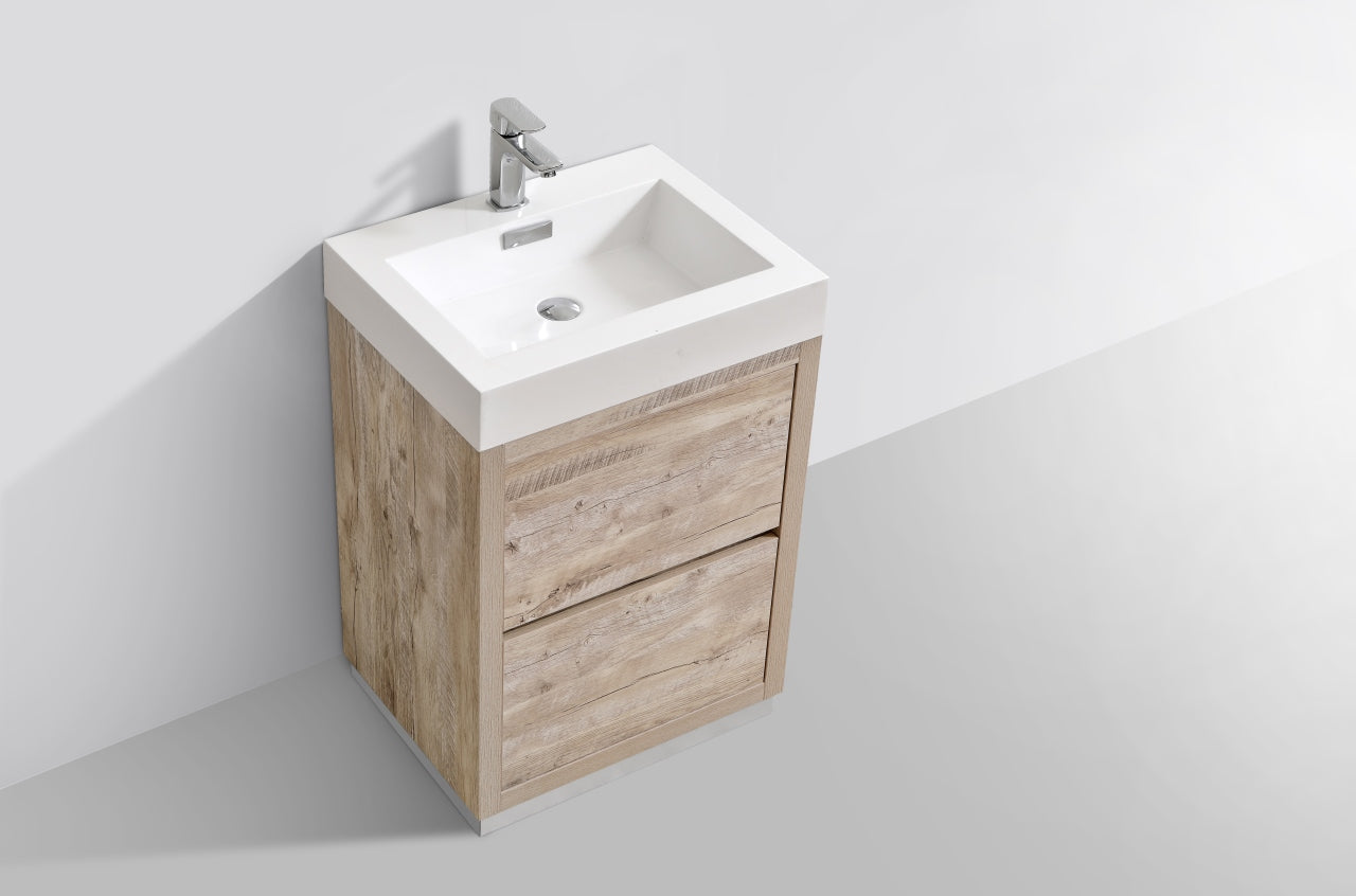 "BLISS- 24"" Nature Wood, Floor Standing Modern Bathroom Vanity - Construction Commodities Supply Inc."