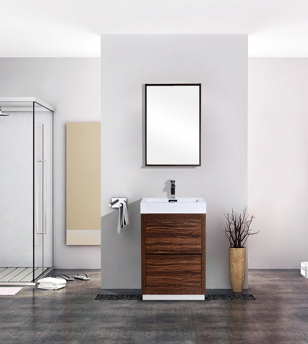 "BLISS- 24"" Walnut, Floor Standing Modern Bathroom Vanity - Vanity Sale"