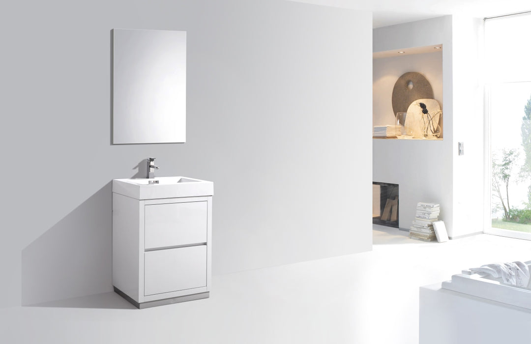 "24"" High Gloss White, Floor Standing Modern Bathroom Vanity"