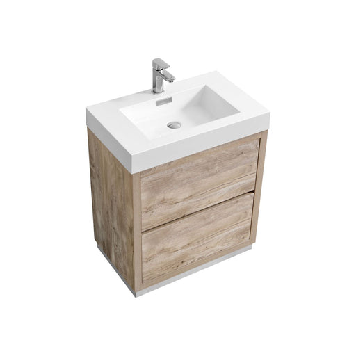 "BLISS - 30"" Nature Wood, Floor Standing Modern Bathroom Vanity - Construction Commodities Supply Inc."