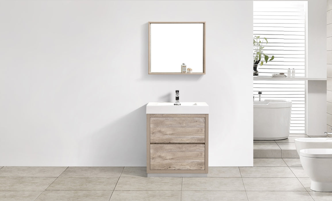 "BLISS - 30"" Nature Wood, Floor Standing Modern Bathroom Vanity - Vanity Sale"