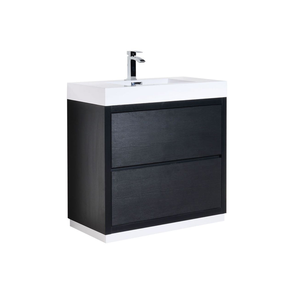 "BLISS- 36"" Black, Floor Standing Modern Bathroom Vanity - Vanity Sale"