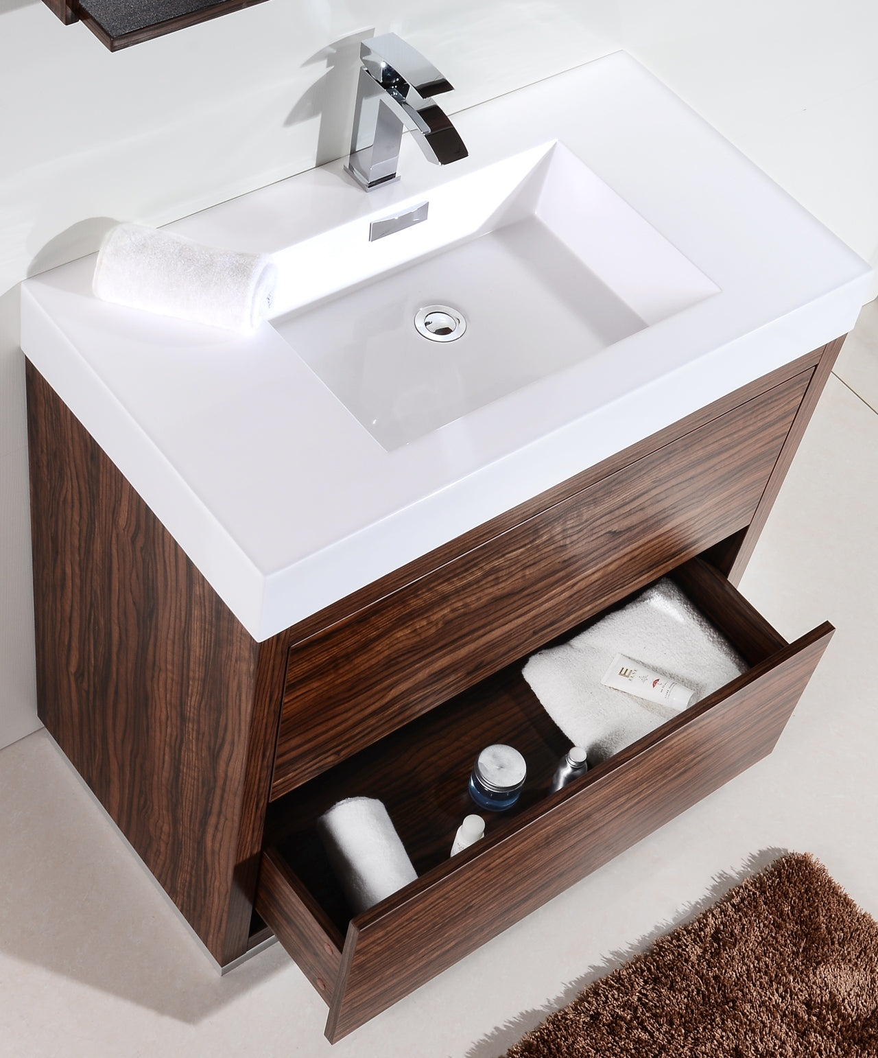 "BLISS- 36"" Walnut, Floor Standing Modern Bathroom vanity - Vanity Sale"