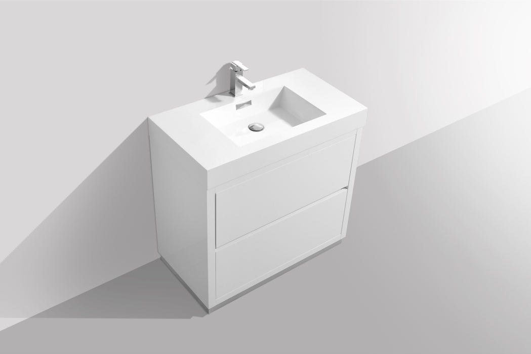 "BLISS- 36"" High Gloss White, Floor Standing Modern Bathroom Vanity"