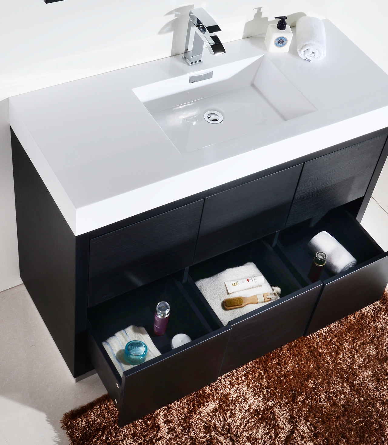 "BLISS- 48"" Black, Floor Standing Modern Bathroom Vanity - Vanity Sale"