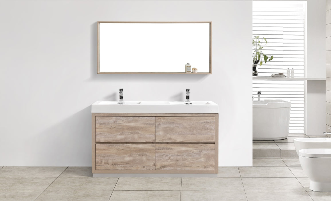 "BLISS- 60"" Nature Wood, Double Sink, Floor Standing Modern Bathroom Vanity - Construction Commodities Supply Inc."
