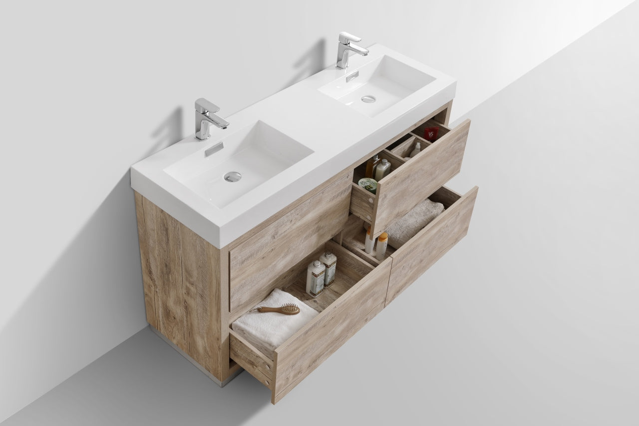 "BLISS- 60"" Nature Wood, Double Sink, Floor Standing Modern Bathroom Vanity - Vanity Sale"