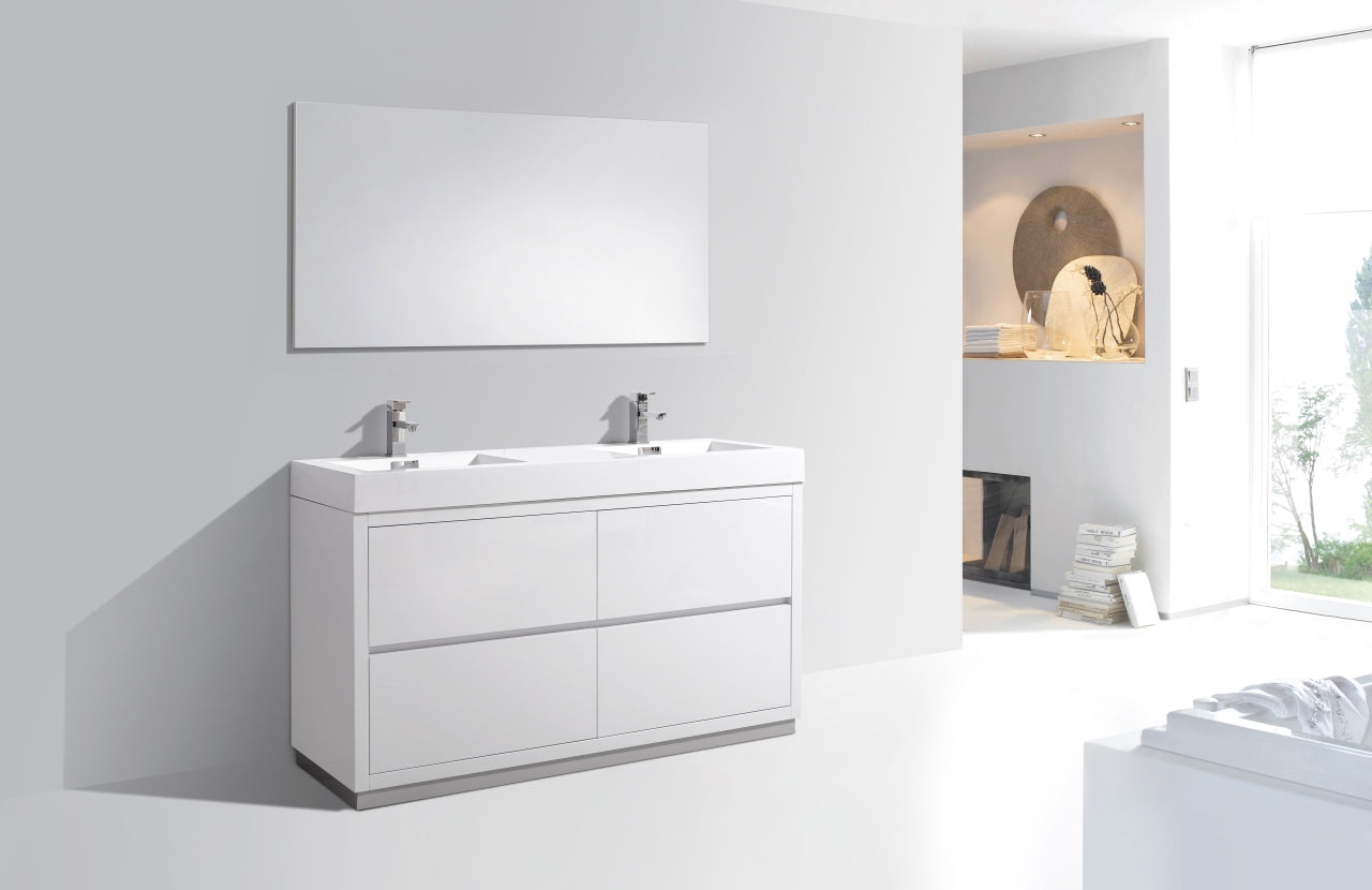 "BLISS- 60"" High Gloss White, Double Sink, Floor Standing Modern Bathroom Vanity - Vanity Sale"