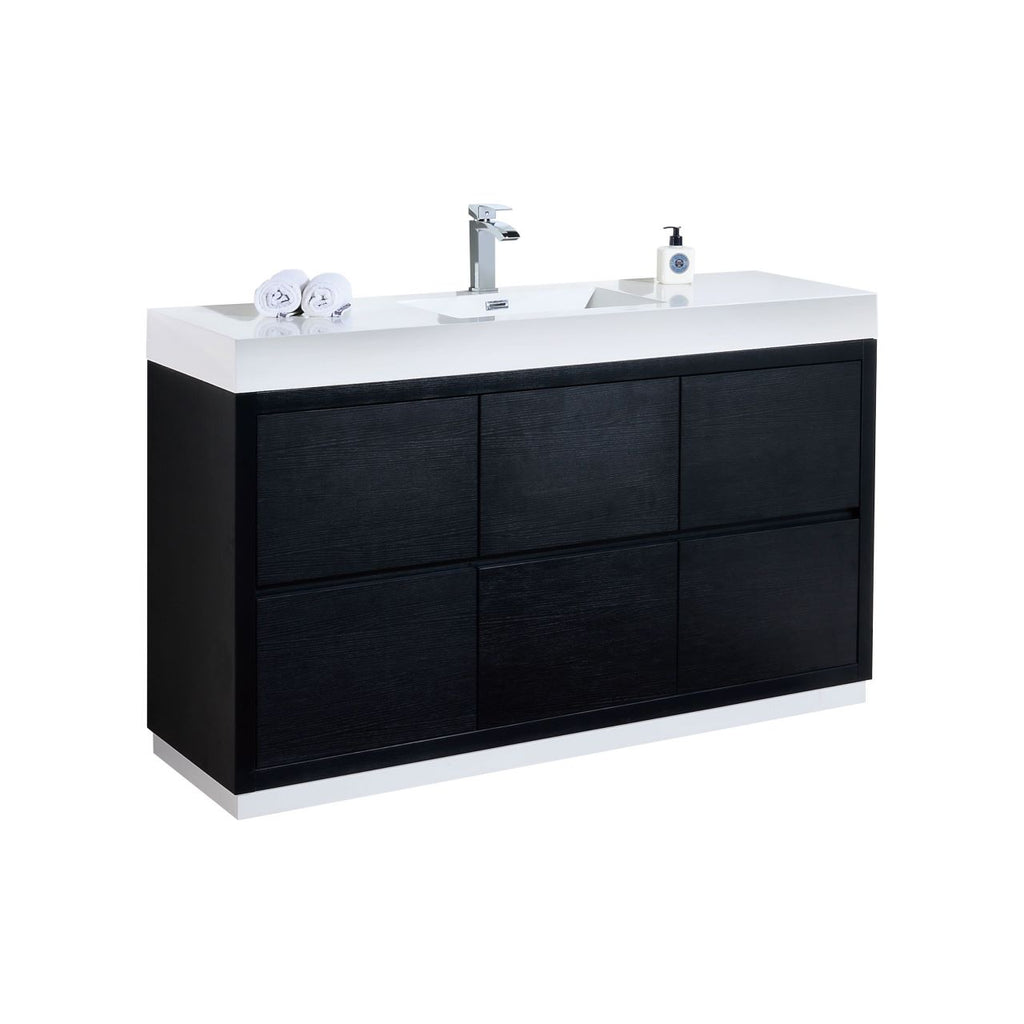 "BLISS- 60"" Single Sink, Black, Floor Standing Modern Bathroom Vanity - Vanity Sale"