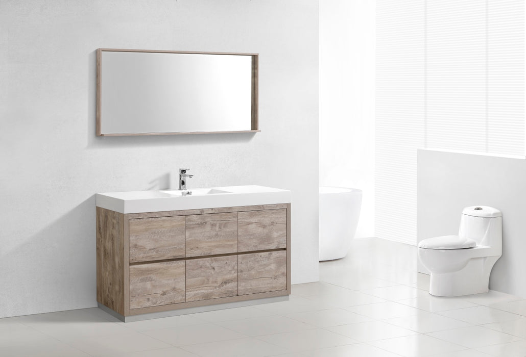 "BLISS- 60"" Single Sink, Nature Wood, Floor Standing Modern Bathroom Vanity - Vanity Sale"