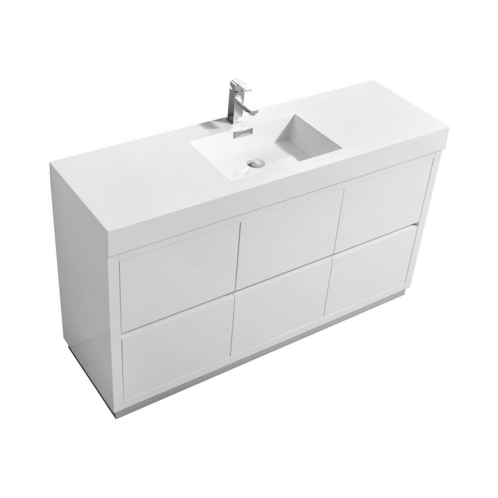 "BLISS- 60"" Single Sink, High Gloss White, Floor Standing Modern Bathroom Vanity - Vanity Sale"