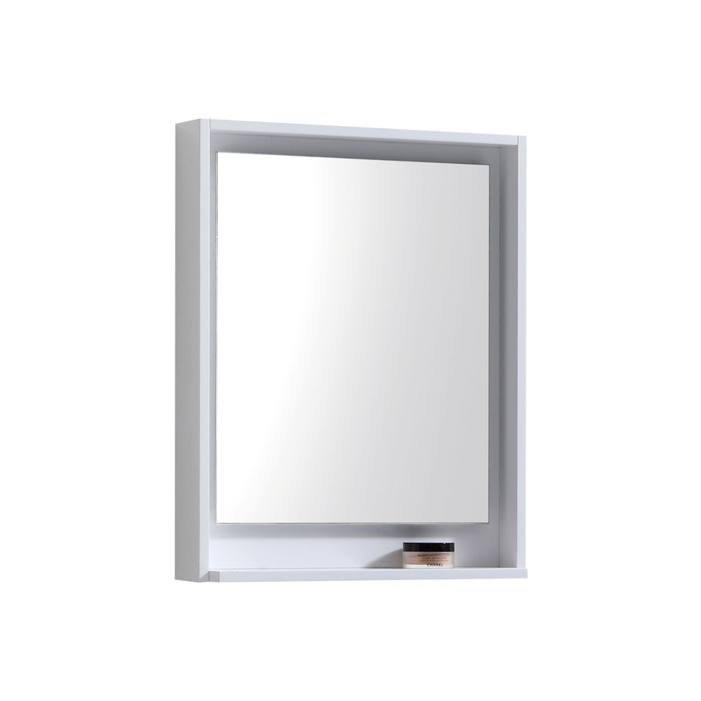 "BLISS- 24"" Gloss White, Mirror With Wood Trim and Bottom Shelf - Construction Commodities Supply Inc."