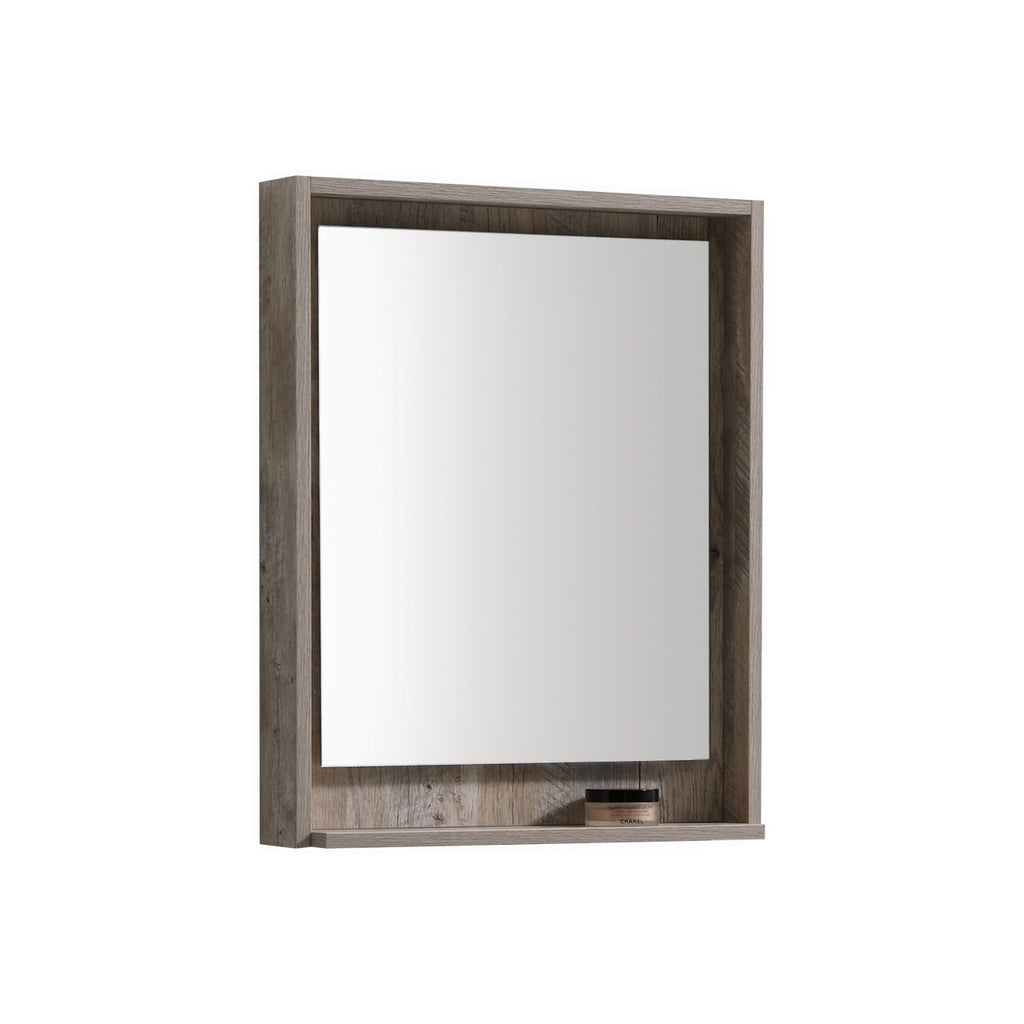 "BLISS- 24"" Nature Wood, Mirror with wood trim and bottom Shelf - Construction Commodities Supply Inc."