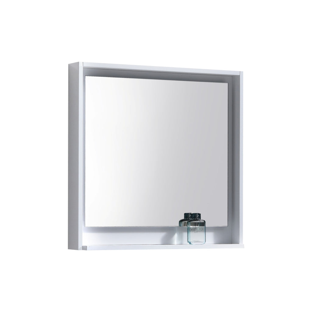 "BLISS- 30"" Gloss White, Wood Frame Mirror With Bottom Shelf - Construction Commodities Supply Inc."