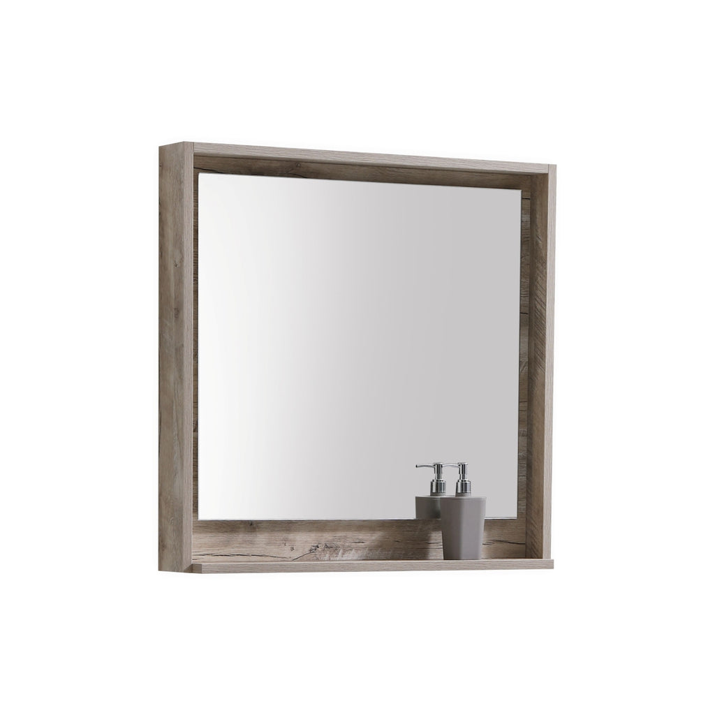 "BLISS- 30"" Nature Wood, Mirror With Wood Frame and Bottom Shelf - Construction Commodities Supply Inc."