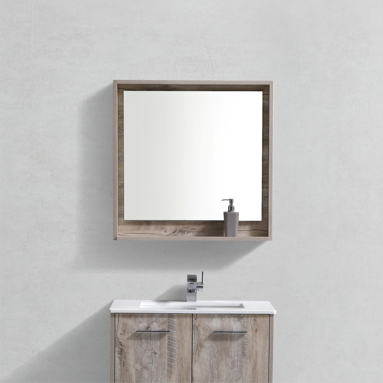 "BLISS- 30"" Nature Wood, Mirror With Wood Frame and Bottom Shelf - Vanity Sale"