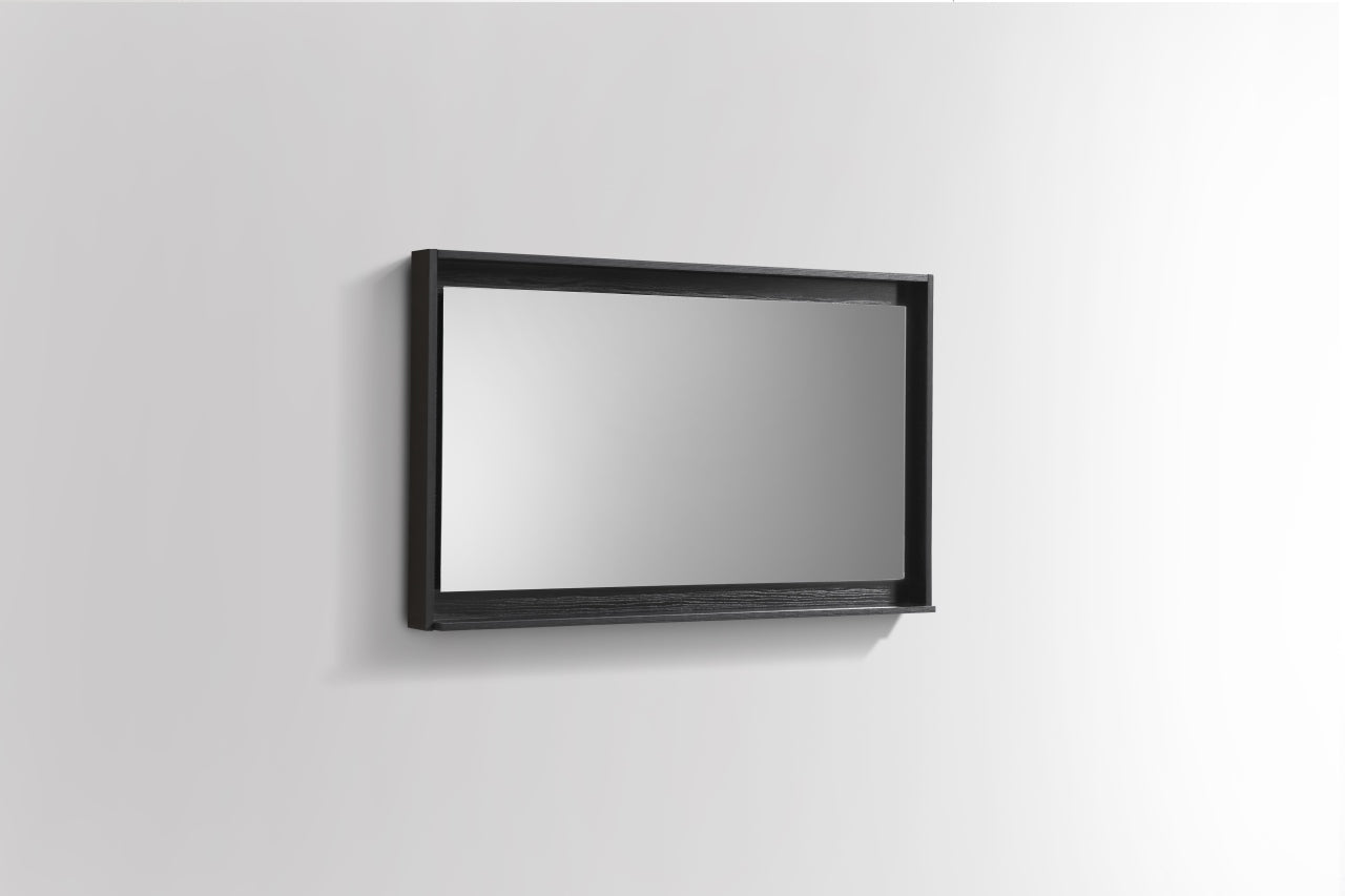 "BLISS-48""Black Mirror with Wood Frame & Bottom Shelf - Vanity Sale"